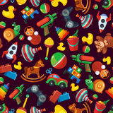 Toys seamless pattern for kids isolate on dark background. Royalty Free Stock Photos