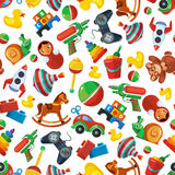 Toys seamless pattern for kids isolate on white background. Stock Image