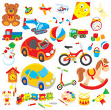 Toys. Set of colorful children's toys in cartoon style, on a white background Stock Photography