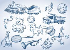 Toys set, hand drawings Royalty Free Stock Photography