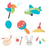 Toys set icons in cartoon style. Big collection of toys vector symbol stock illustration. Toys set icons in cartoon style. Big collection of toys vector symbol Royalty Free Stock Image