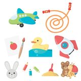 Toys set icons in cartoon style.. Toys set icons in cartoon style. Big collection of toys vector symbol stock Stock Image