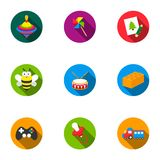 Toys set icons in flat style. Big collection of toys symbol Stock Image