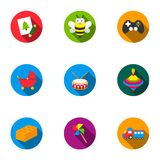 Toys set icons in flat style. Big collection of toys vector symbol stock illustration Stock Photography