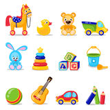 Toys set isolated on white background. Including horse, teddy bear, ball, cubes toys . Stock Photos