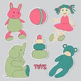 Toys, set of stickers Stock Photos
