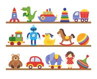 Toys on shelves. Cartoon toy on baby shopping wooden shelf. Dinosaur robot car doll isolated vector