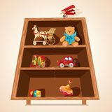 Toys on shelves print Stock Image