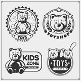 Toys shop and kids zone emblems, labels and design elements. Cute soft plush animal toys. stock photo
