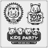 Toys shop and kids zone emblems, labels and design elements. Cute soft plush animal toys. royalty free stock images