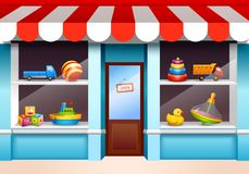 Toys shop window. Plastic children toys set on shop window shelf vector illustration vector illustration