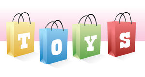 Toys shopping bags Stock Photos