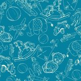 Toys sketch blue seamless pattern Stock Photos