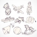 Toys sketch icons set Royalty Free Stock Image
