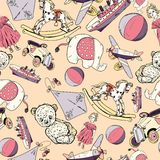 Toys sketch seamless pattern Royalty Free Stock Image