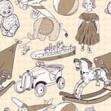 Toys sketch seamless pattern Royalty Free Stock Photos