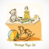 Toys sketch on shelf print Royalty Free Stock Images