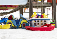 Toys and snow. Some toys for child on the snow Royalty Free Stock Image