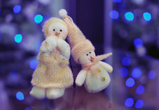 Toys of snowman and snow woman in love Royalty Free Stock Photo