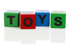 TOYS spelled with alphabet building blocks Royalty Free Stock Image