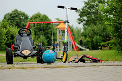 Toys and sports equipment. On the Playground in the Park Royalty Free Stock Photo