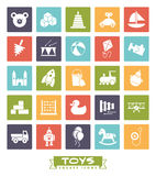 Toys square color icons vector set. Collection of square colored childrens toys icons Royalty Free Stock Images