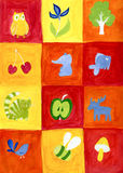 Toys in squares. Pictures of toy animals and plants in colored squares Stock Photo