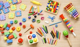 Toys and stationery. For kids to play and learn / Back to school concept stock photos