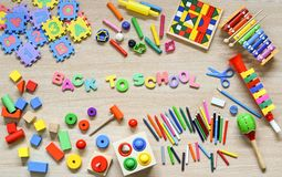 Toys and stationery. For kids to play and learn / Back to school concept stock image