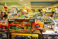 Toys store best asian india. Xshot toys nerf toys stock photography