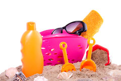 Toys and sun protection Royalty Free Stock Photos