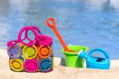 Toys at the swimming pool Stock Photos