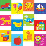 Toys and symbols set for baby. And child Royalty Free Stock Photos