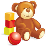 Toys - Teddy bear, cubes, ball Stock Image