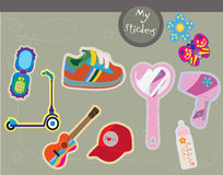 Toys and teen accessories. Sticker-like illustrations including toys and other accessories Royalty Free Stock Photo
