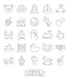 Toys Thin Line Icon Collection Royalty Free Stock Photography