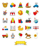 Toys Thin Line Icon With Color Fill Collection Royalty Free Stock Image
