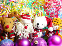 Toys, a tiger, Santa Klaus, a deer and a bear. New Year's toys, a tiger, Santa Klaus, a deer and a bear Royalty Free Stock Photos