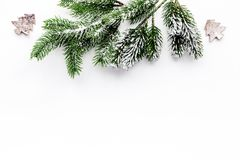 Toys to decorate christmas tree for new year celebration with fur tree branches on white background top veiw mockup Royalty Free Stock Photography