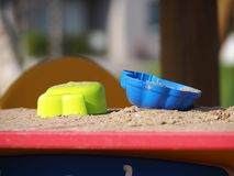 Toys to play with in the sand. Photograph of cups to play with in the sand Stock Photography