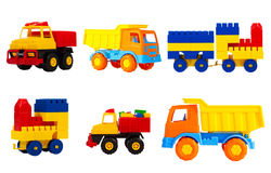 Toys transport for children isolated on a white background, a se. Bright multi-colored toys for children isolated on a white background, a set. toys transport stock images