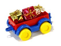 Toys, truck trailer with gifts and toys Stock Image