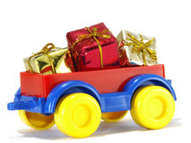 Toys, truck trailer with gifts and toys Stock Photography