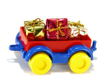 Toys, truck trailer with gifts and toys Stock Photo