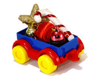 Toys, truck trailer with gifts and toys Stock Images