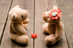 Toys two bears. In love Stock Photography