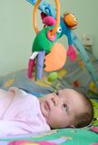 Toys Are Us. A three weeks baby girl playing with stuffed dolls Stock Photo