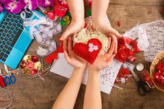 Toys Valentine's Day with their own hands, top Stock Image