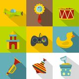 Toys variety icon set, flat style. Toys variety icon set. Flat style set of 9 toys variety vector icons for web design Royalty Free Stock Images