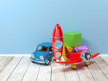 Toys at wall Stock Photography